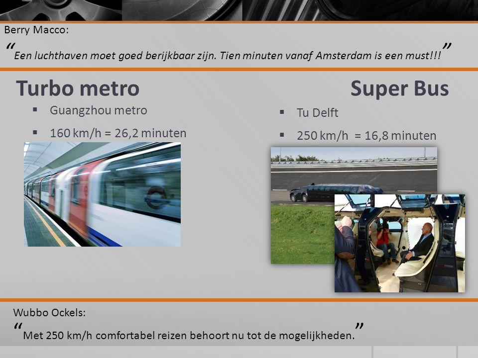 Turbo metroSuper Bus  Tu Delft  250 km/h = 16,8 minuten Berry Macco: Een luchthaven moet goed berijkbaar zijn.