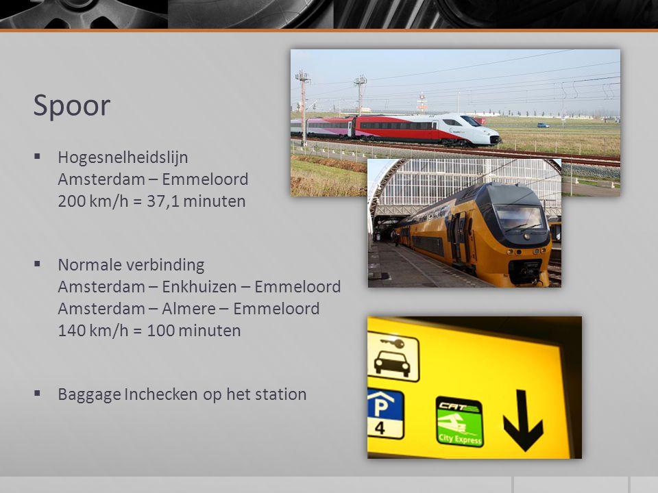 Spoor  Hogesnelheidslijn Amsterdam – Emmeloord 200 km/h = 37,1 minuten  Normale verbinding Amsterdam – Enkhuizen – Emmeloord Amsterdam – Almere – Emmeloord 140 km/h = 100 minuten  Baggage Inchecken op het station
