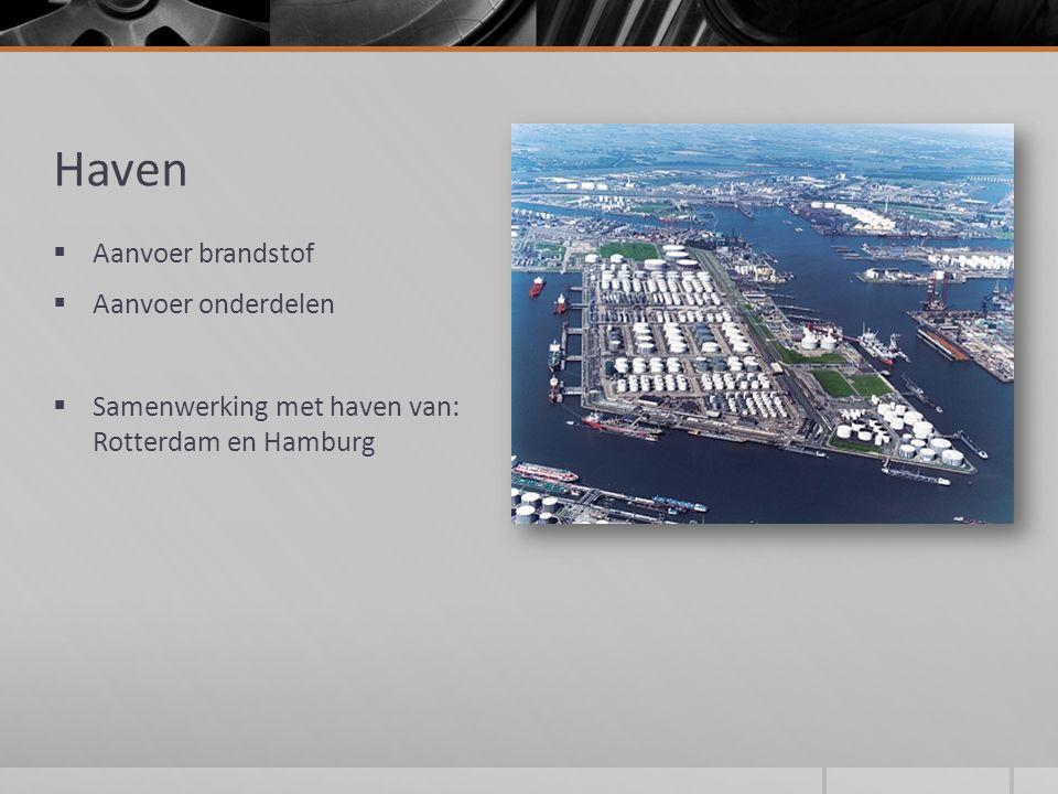 Haven  Aanvoer brandstof  Aanvoer onderdelen  Samenwerking met haven van: Rotterdam en Hamburg