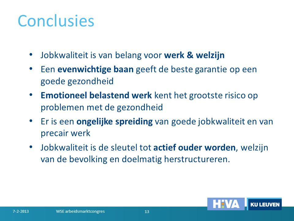 Conclusies • Jobkwaliteit is van belang voor werk & welzijn • Een evenwichtige baan geeft de beste garantie op een goede gezondheid • Emotioneel belas