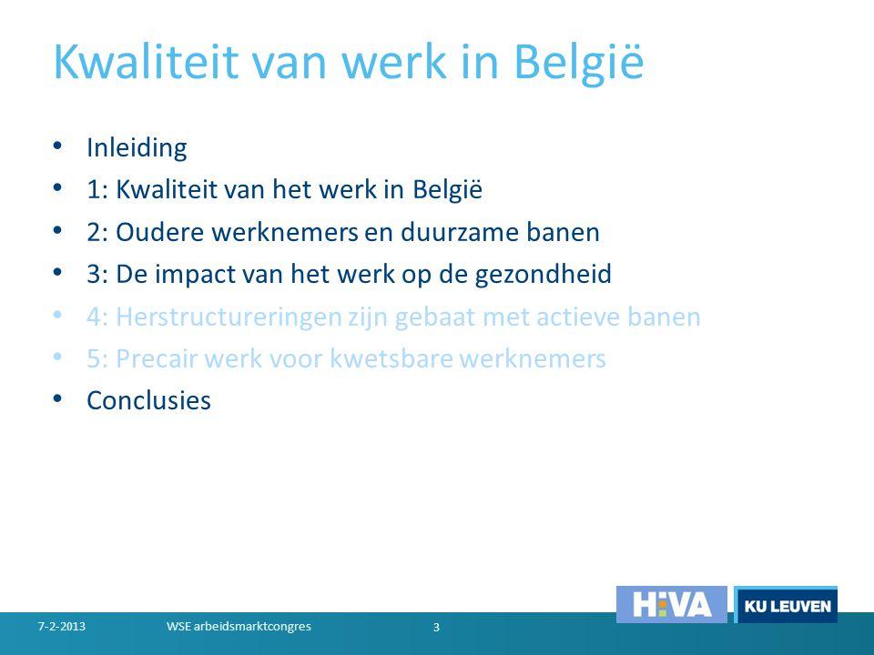 Kwaliteit van werk in België • Inleiding • 1: Kwaliteit van het werk in België • 2: Oudere werknemers en duurzame banen • 3: De impact van het werk op