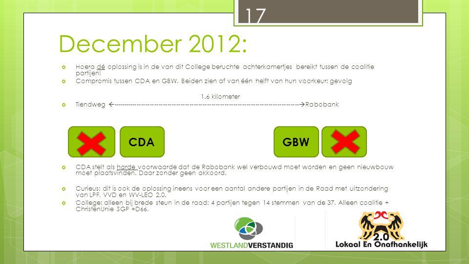 December 2012: 17  Hoera dé oplossing is in de van dit College beruchte achterkamertjes bereikt tussen de coalitie partijen.