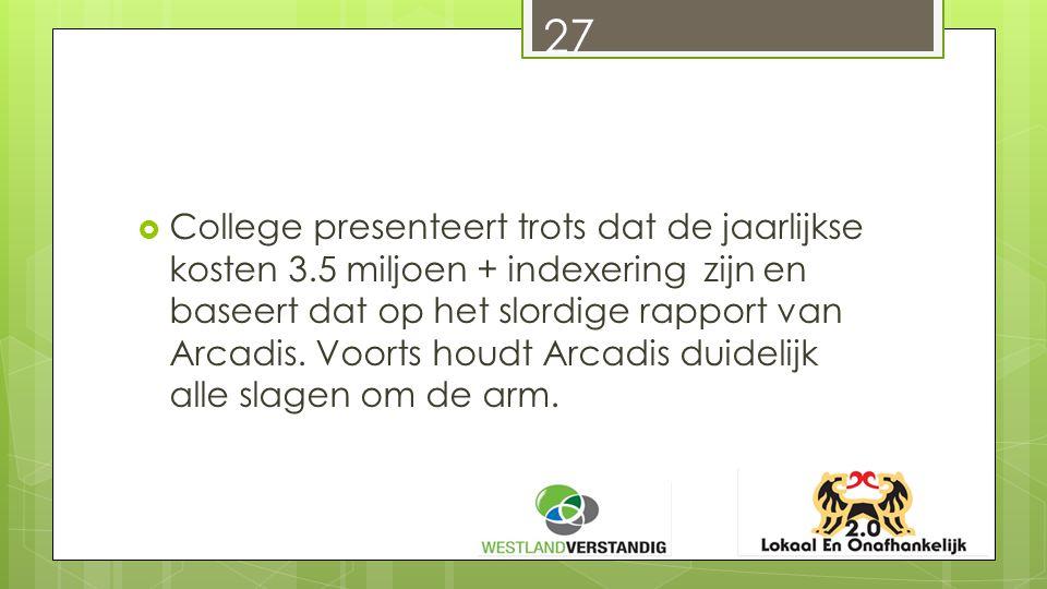  College presenteert trots dat de jaarlijkse kosten 3.5 miljoen + indexering zijn en baseert dat op het slordige rapport van Arcadis.