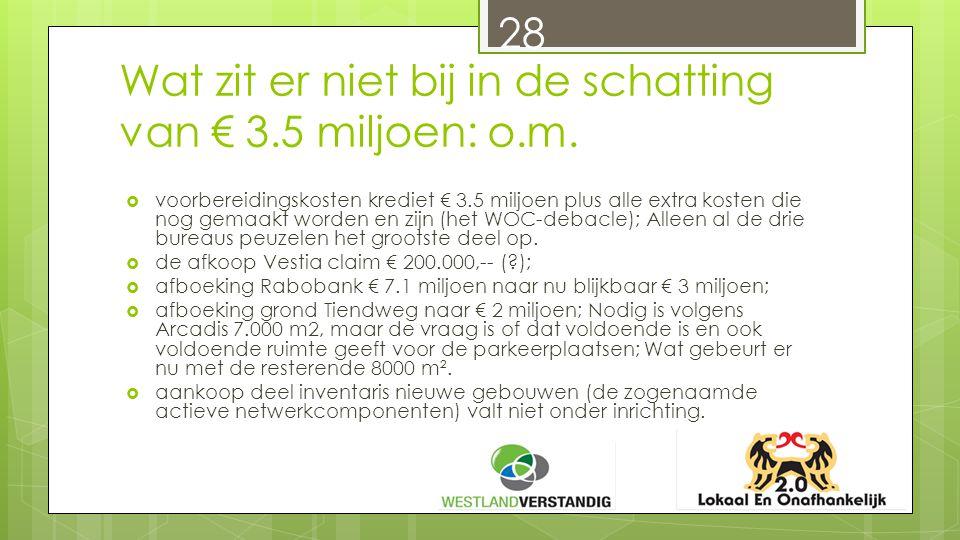 Wat zit er niet bij in de schatting van € 3.5 miljoen: o.m.
