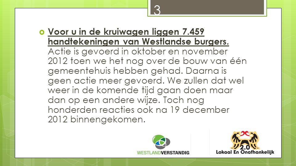 3  Voor u in de kruiwagen liggen 7.459 handtekeningen van Westlandse burgers.