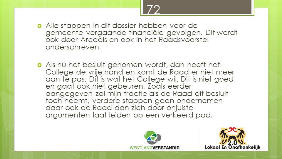 72  Alle stappen in dit dossier hebben voor de gemeente vergaande financiële gevolgen.