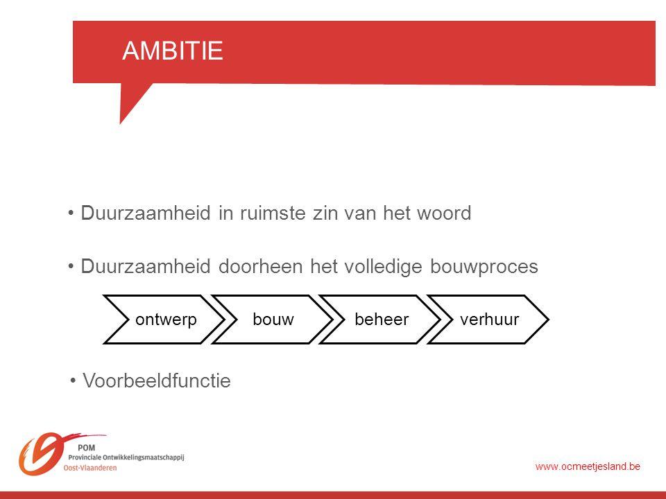 AMBITIE •Duurzaamheid in ruimste zin van het woord •Duurzaamheid doorheen het volledige bouwproces •Voorbeeldfunctie www.ocmeetjesland.be ontwerpbouwbeheerverhuur