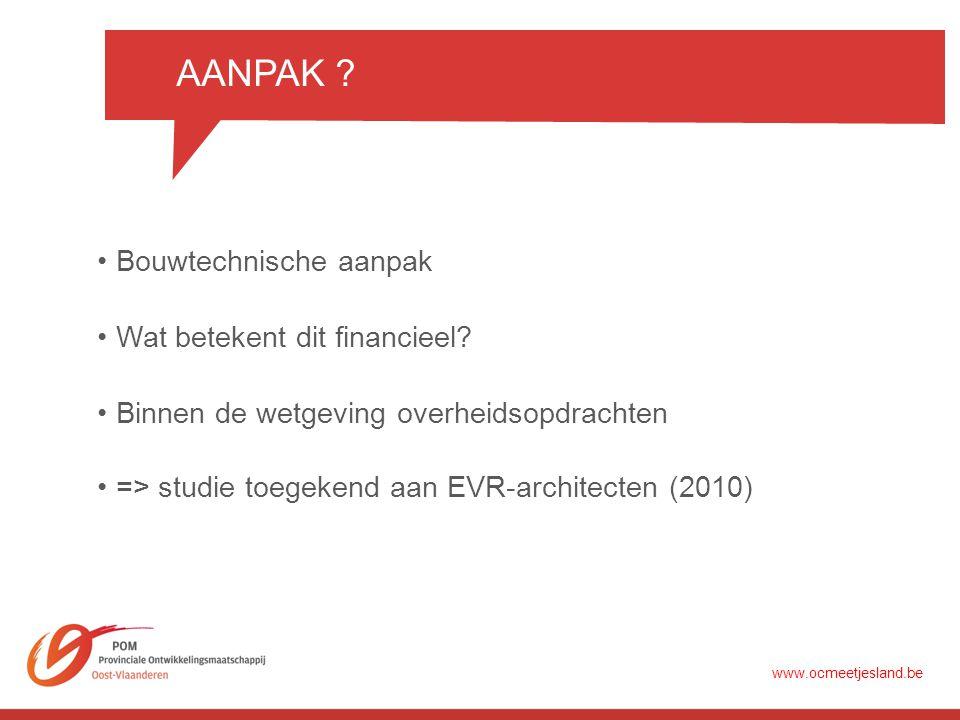 AANPAK . •Bouwtechnische aanpak •Wat betekent dit financieel.