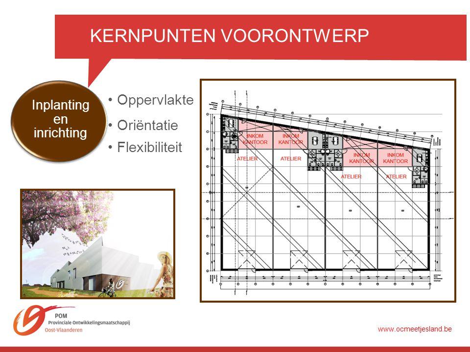 KERNPUNTEN VOORONTWERP •Oppervlakte •Flexibiliteit Inplanting en inrichting •Oriëntatie www.ocmeetjesland.be