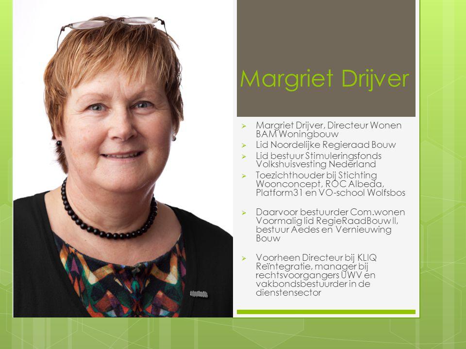 Margriet Drijver  Margriet Drijver, Directeur Wonen BAM Woningbouw  Lid Noordelijke Regieraad Bouw  Lid bestuur Stimuleringsfonds Volkshuisvesting