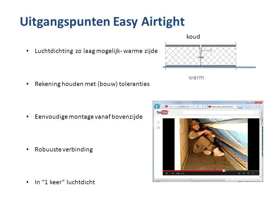 Uitgangspunten Easy Airtight koud warm • Luchtdichting zo laag mogelijk- warme zijde • Rekening houden met (bouw) toleranties • Eenvoudige montage van