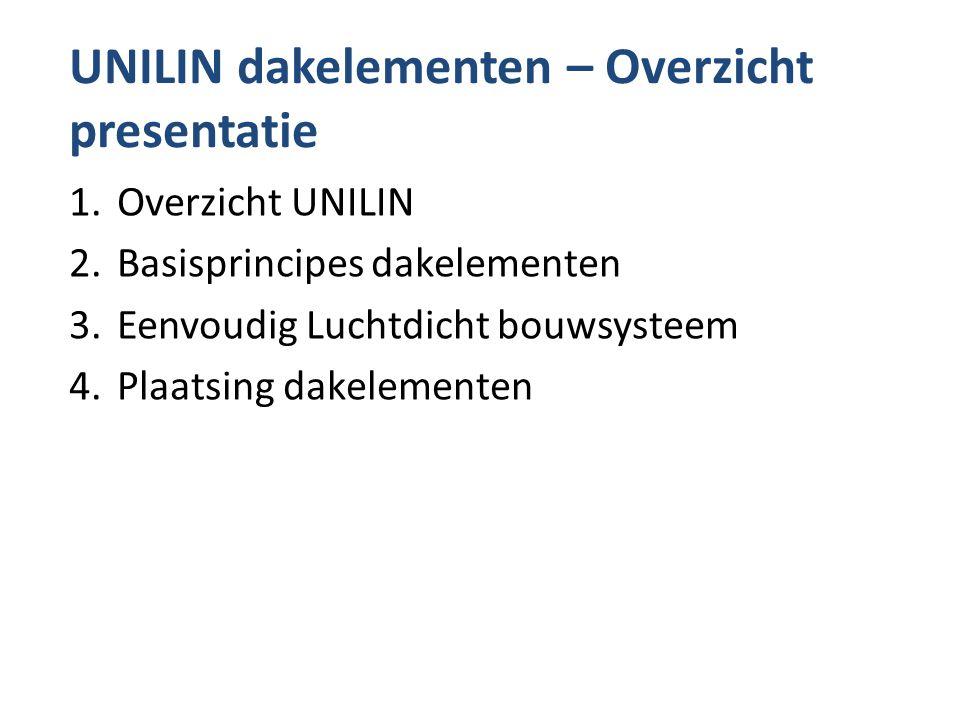 UNILIN dakelementen – Overzicht presentatie 1.Overzicht UNILIN 2.Basisprincipes dakelementen 3.Eenvoudig Luchtdicht bouwsysteem 4.Plaatsing dakelement