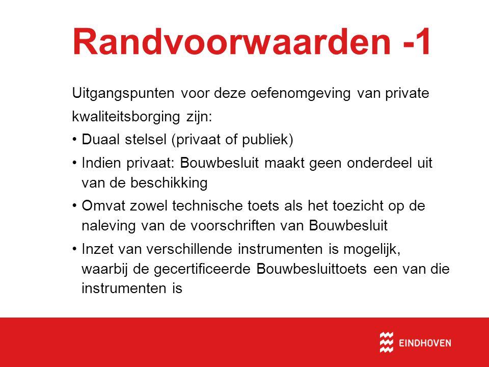 Aanbevelingen - 4 •Sluit bij invoeren van het duale stelsel binnen de gemeente Eindhoven aan bij zowel de randvoorwaarden uit het document van het Actieteam Bouw en de Vereniging BWT Nederland.