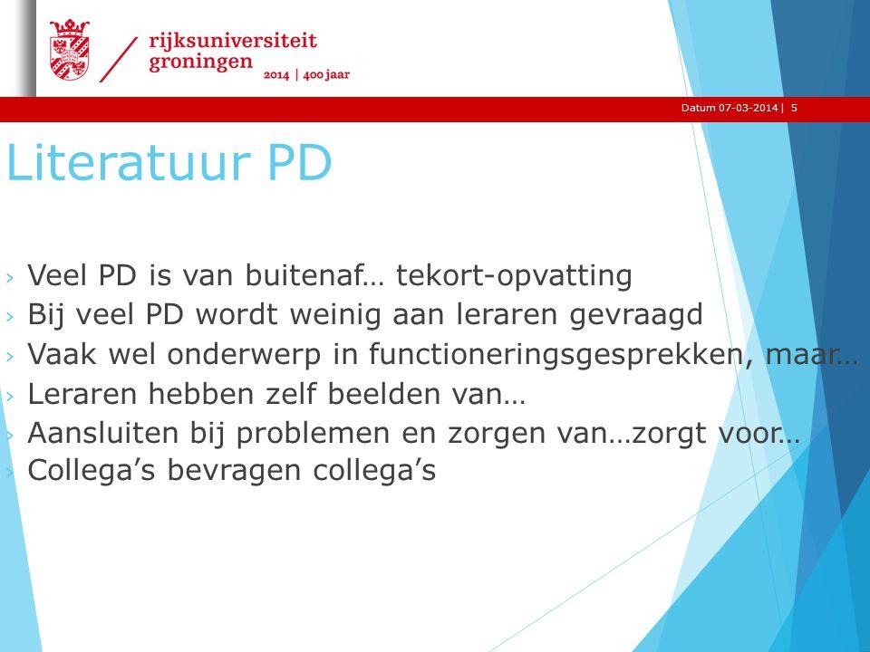 |Datum 07-03-2014 Literatuur PD › Veel PD is van buitenaf… tekort-opvatting › Bij veel PD wordt weinig aan leraren gevraagd › Vaak wel onderwerp in fu