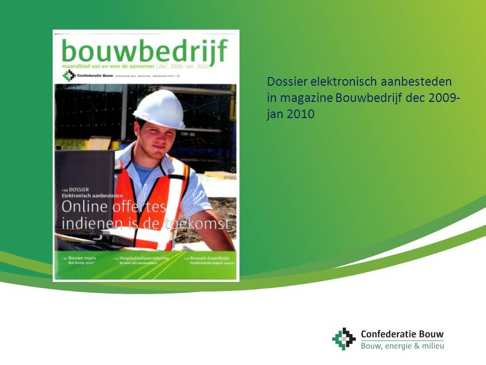 Dossier elektronisch aanbesteden in magazine Bouwbedrijf dec 2009- jan 2010