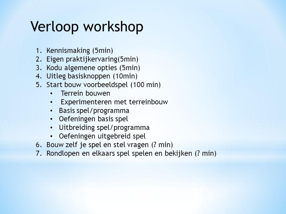 Verloop workshop 1.Kennismaking (5min) 2.Eigen praktijkervaring(5min) 3.Kodu algemene opties (5min) 4.Uitleg basisknoppen (10min) 5.Start bouw voorbee