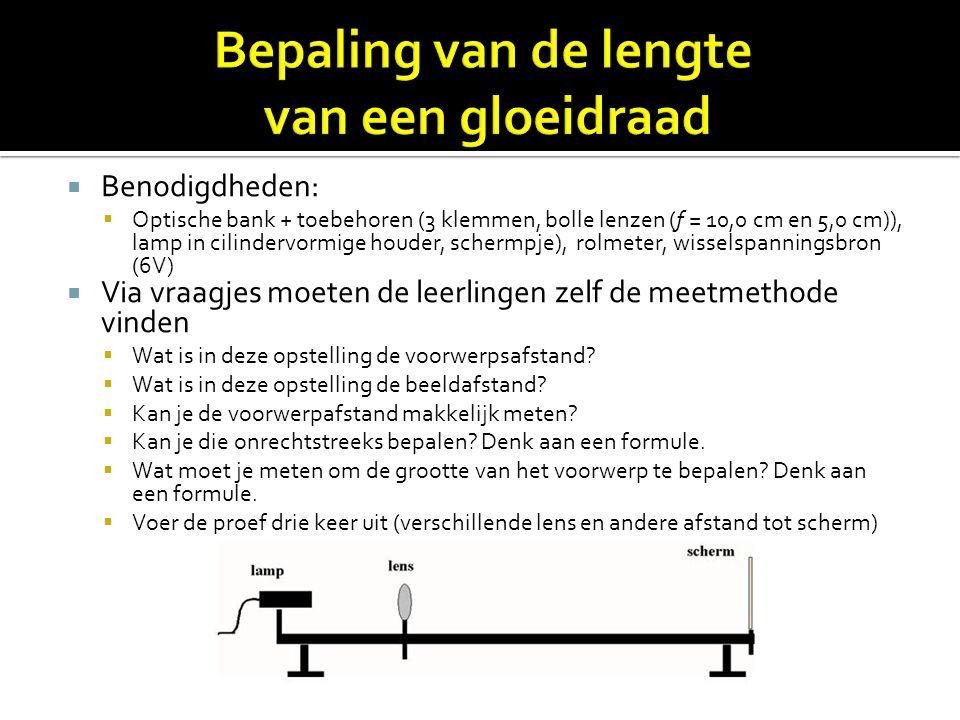  Benodigdheden:  Optische bank + toebehoren (3 klemmen, bolle lenzen (f = 10,0 cm en 5,0 cm)), lamp in cilindervormige houder, schermpje), rolmeter,