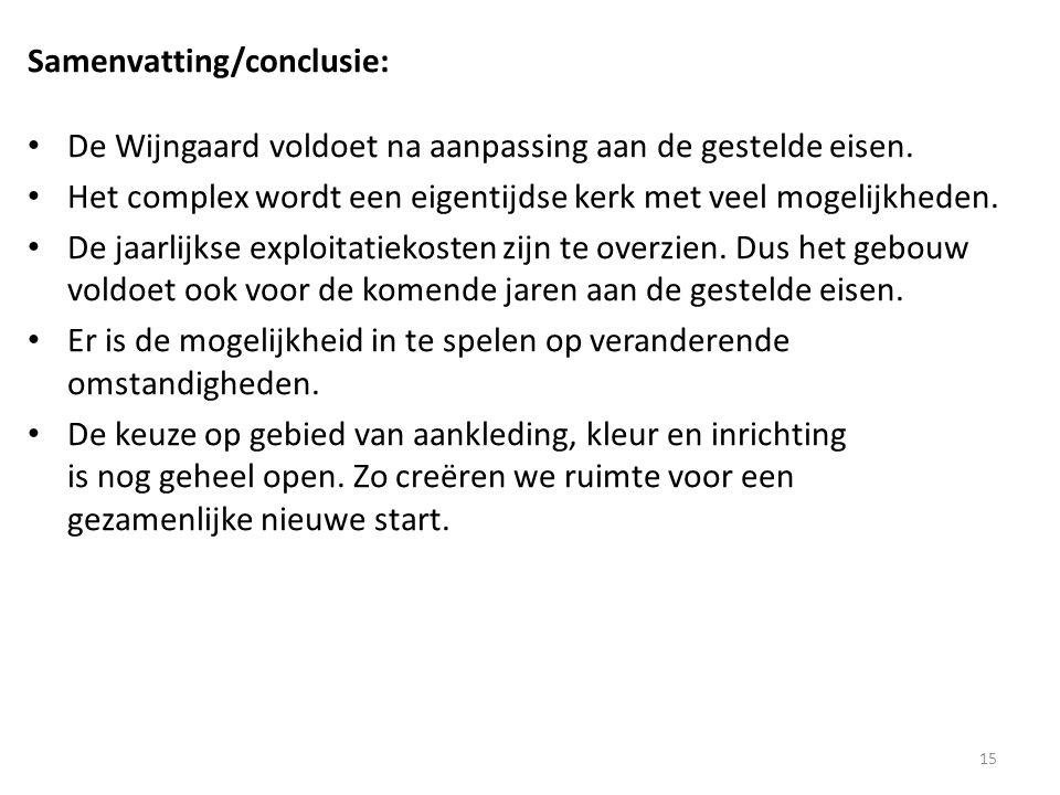 Samenvatting/conclusie: • De Wijngaard voldoet na aanpassing aan de gestelde eisen.