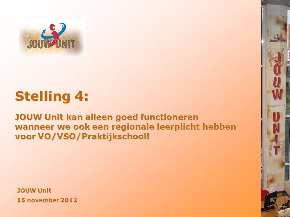 JOUW Unit 15 november 2012 Stelling 4: JOUW Unit kan alleen goed functioneren wanneer we ook een regionale leerplicht hebben voor VO/VSO/Praktijkschoo
