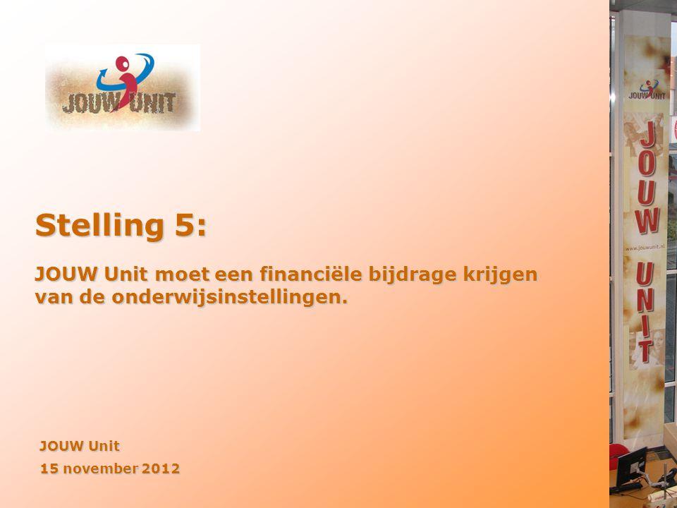 JOUW Unit 15 november 2012 Stelling 5: JOUW Unit moet een financiële bijdrage krijgen van de onderwijsinstellingen.