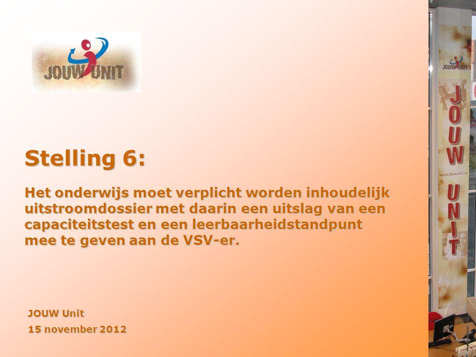 JOUW Unit 15 november 2012 Stelling 6: Het onderwijs moet verplicht worden inhoudelijk uitstroomdossier met daarin een uitslag van een capaciteitstest