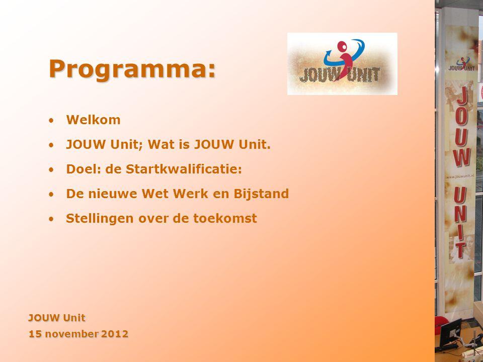 Programma: •Welkom •JOUW Unit; Wat is JOUW Unit. •Doel: de Startkwalificatie: •De nieuwe Wet Werk en Bijstand •Stellingen over de toekomst JOUW Unit 1