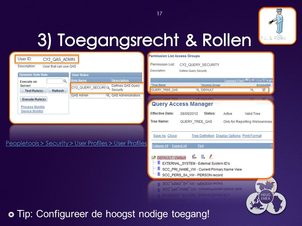 17  Tip: Configureer de hoogst nodige toegang! P.L. & Roles Peopletools > Security > User Profiles > User Profiles