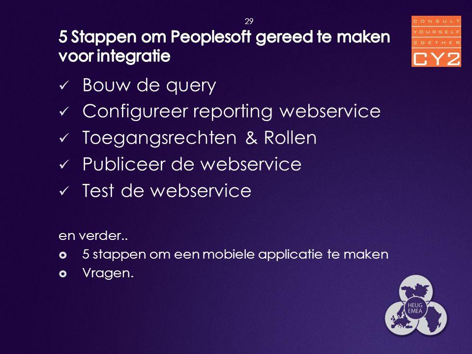  Bouw de query  Configureer reporting webservice  Toegangsrechten & Rollen  Publiceer de webservice  Test de webservice en verder..  5 stappen o