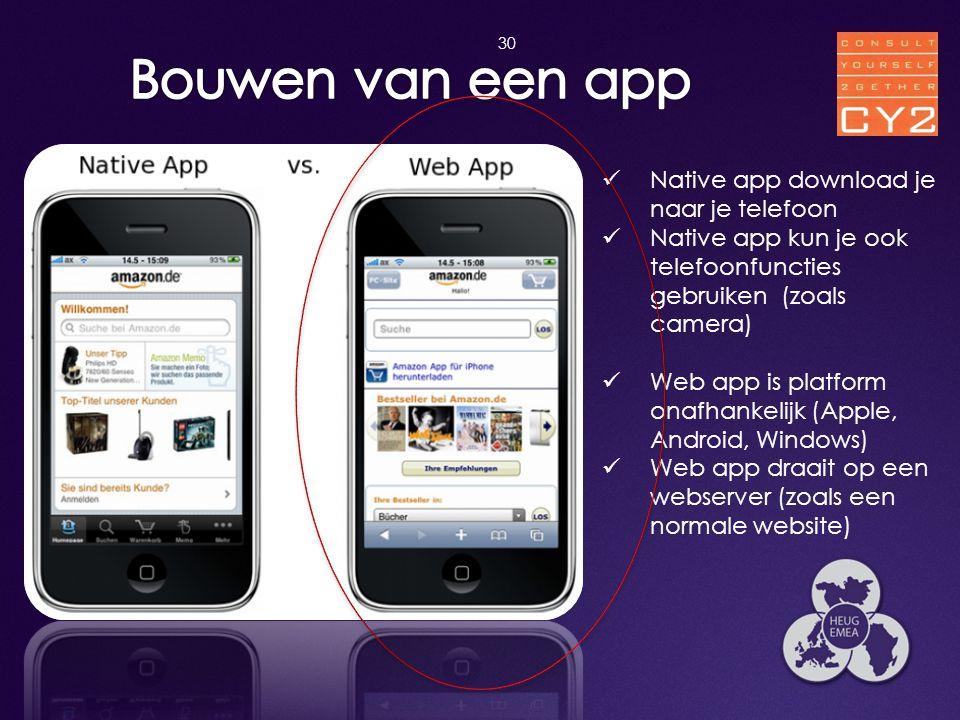 30  Native app download je naar je telefoon  Native app kun je ook telefoonfuncties gebruiken (zoals camera)  Web app is platform onafhankelijk (Ap