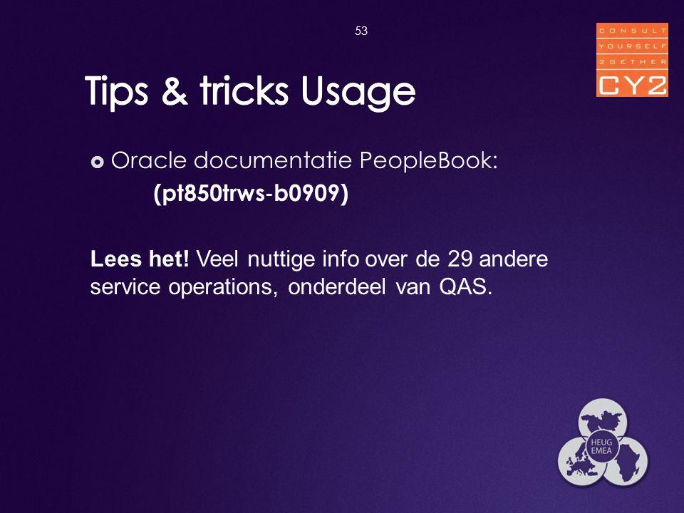  Oracle documentatie PeopleBook: (pt850trws ‐ b0909) Lees het! Veel nuttige info over de 29 andere service operations, onderdeel van QAS. 53