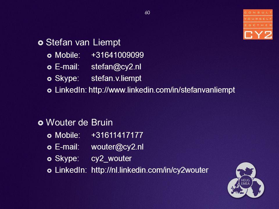  Stefan van Liempt  Mobile: +31641009099  E-mail: stefan@cy2.nl  Skype: stefan.v.liempt  LinkedIn: http://www.linkedin.com/in/stefanvanliempt  W