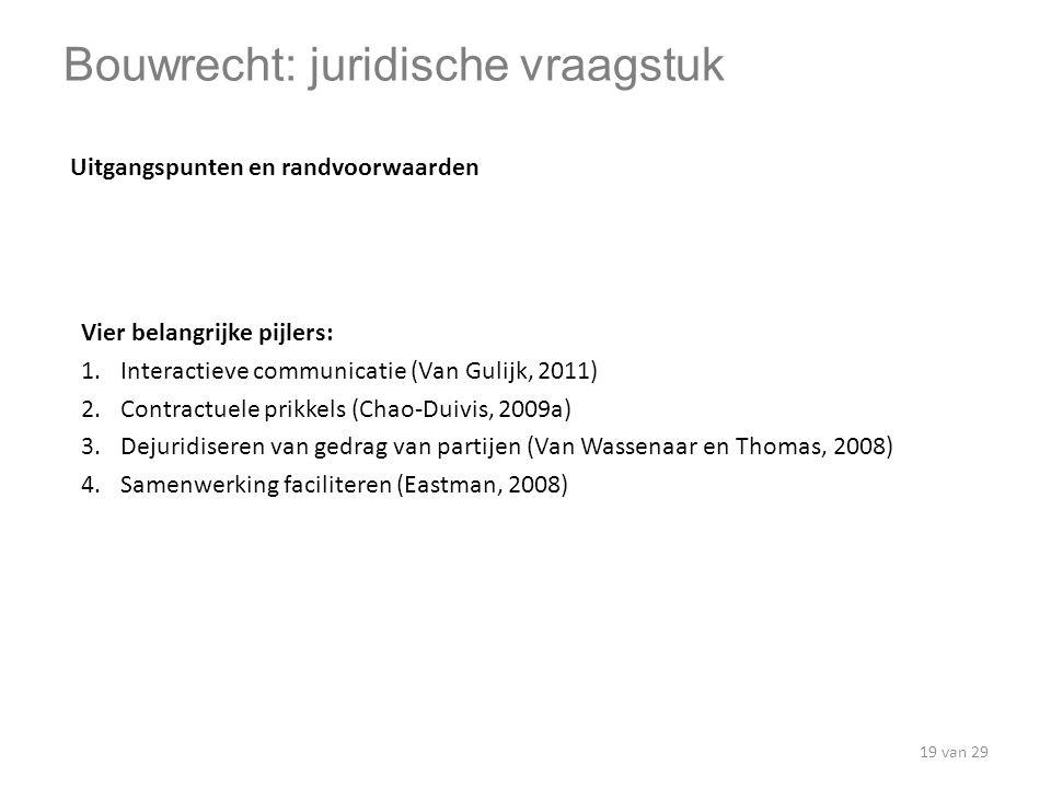 Vier belangrijke pijlers: 1.Interactieve communicatie (Van Gulijk, 2011) 2.Contractuele prikkels (Chao-Duivis, 2009a) 3.Dejuridiseren van gedrag van p