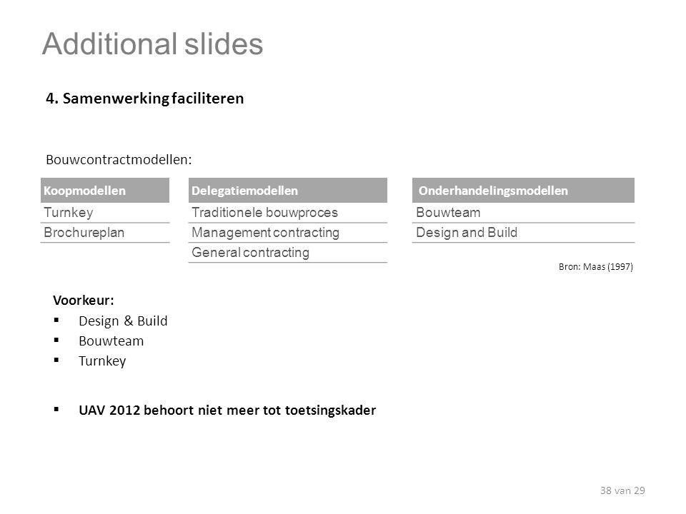 4. Samenwerking faciliteren KoopmodellenDelegatiemodellen Onderhandelingsmodellen TurnkeyTraditionele bouwprocesBouwteam BrochureplanManagement contra