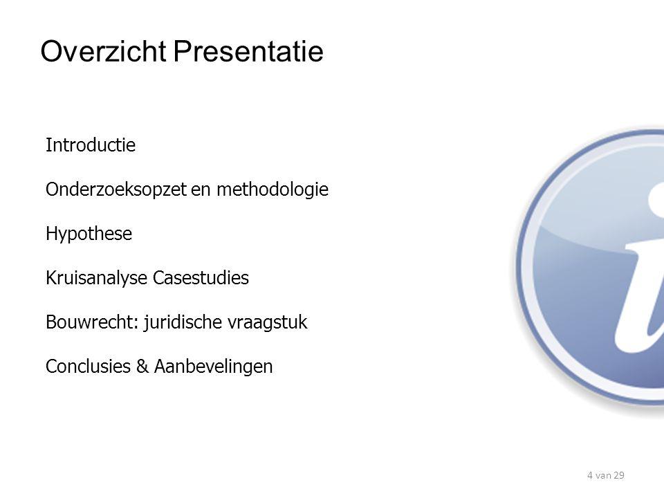 Introductie Onderzoeksopzet en methodologie Hypothese Kruisanalyse Casestudies Bouwrecht: juridische vraagstuk Conclusies & Aanbevelingen Overzicht Pr