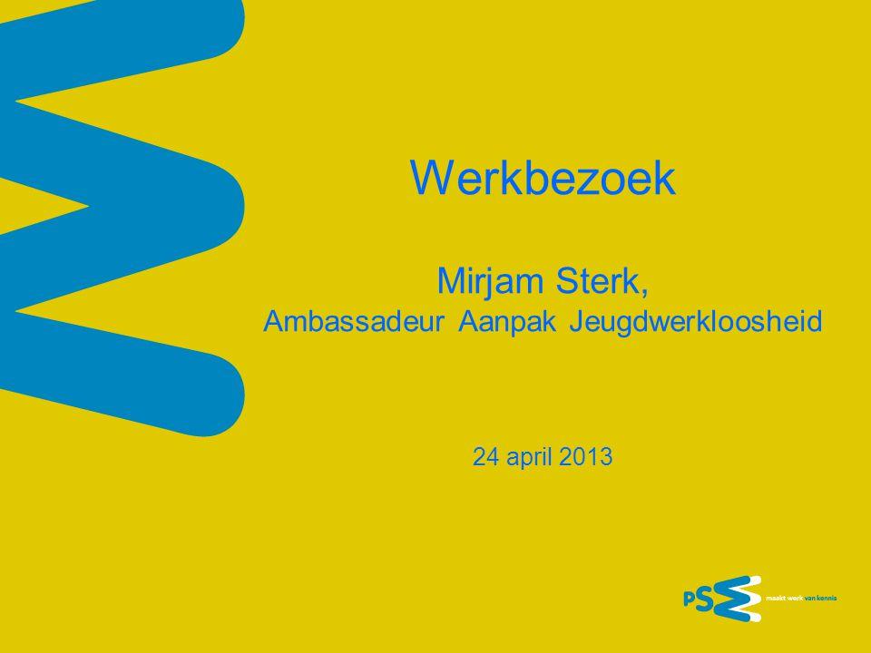 Werkbezoek Mirjam Sterk, Ambassadeur Aanpak Jeugdwerkloosheid 24 april 2013