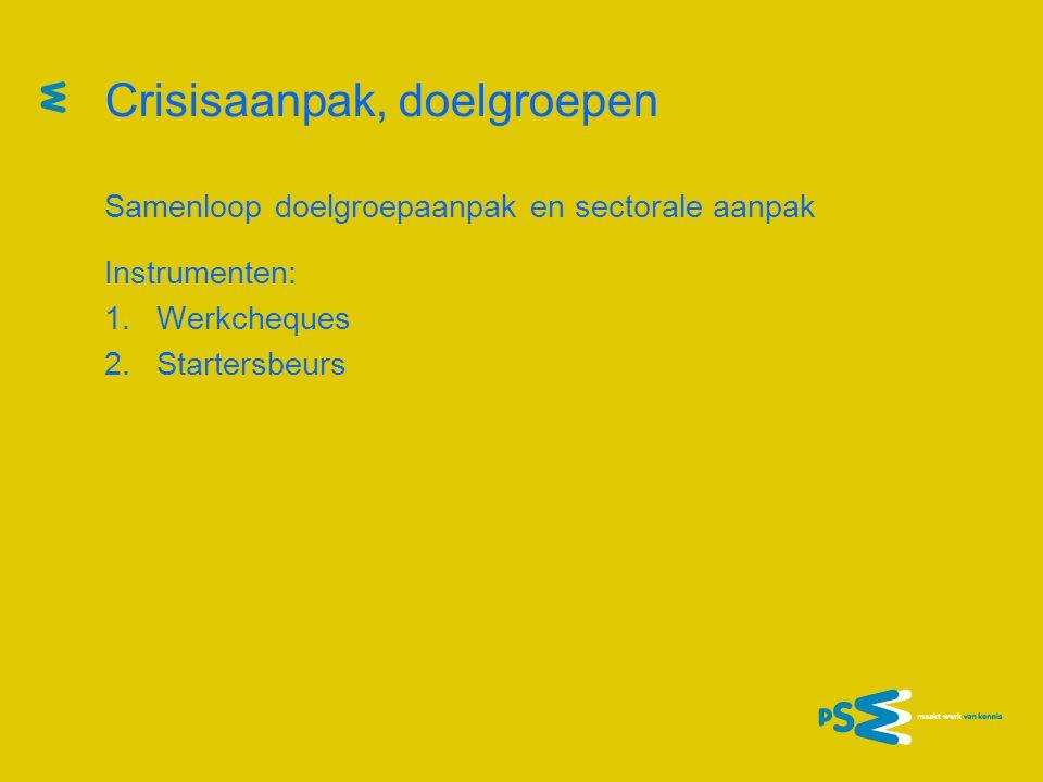 Crisisaanpak, doelgroepen Samenloop doelgroepaanpak en sectorale aanpak Instrumenten: 1.Werkcheques 2.Startersbeurs