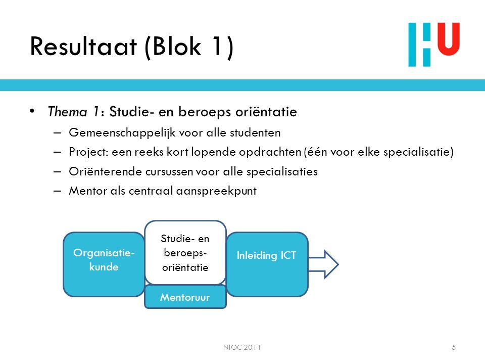 Resultaat (Blok 1) • Thema 1: Studie- en beroeps oriëntatie – Gemeenschappelijk voor alle studenten – Project: een reeks kort lopende opdrachten (één