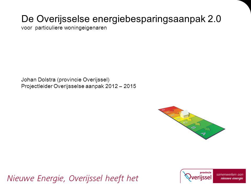 De Overijsselse energiebesparingsaanpak 2.0 voor particuliere woningeigenaren Johan Dolstra (provincie Overijssel) Projectleider Overijsselse aanpak 2012 – 2015