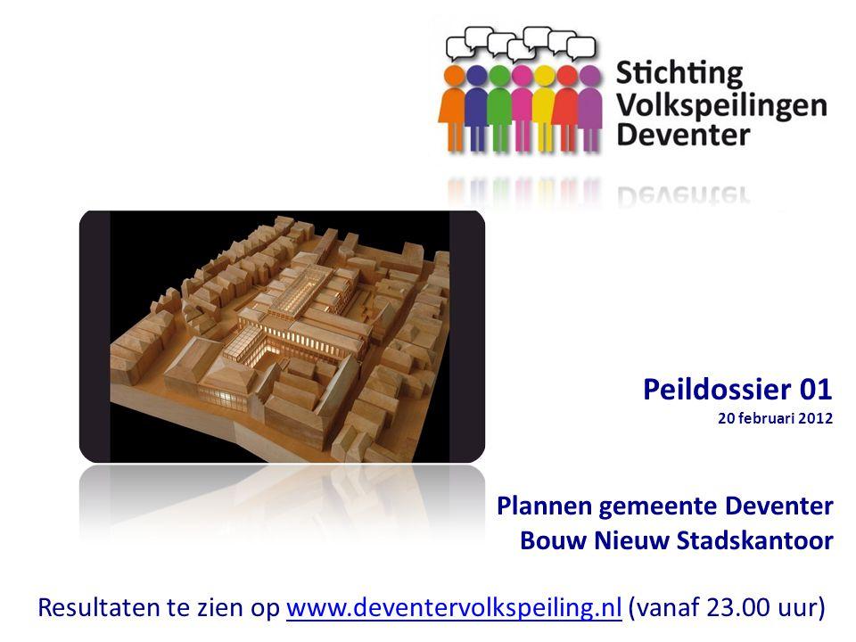 Peildossier 01 20 februari 2012 Plannen gemeente Deventer Bouw Nieuw Stadskantoor Resultaten te zien op www.deventervolkspeiling.nl (vanaf 23.00 uur)www.deventervolkspeiling.nl