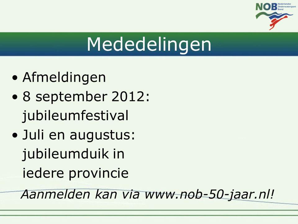 Mededelingen •Afmeldingen •8 september 2012: jubileumfestival •Juli en augustus: jubileumduik in iedere provincie Aanmelden kan via www.nob-50-jaar.nl