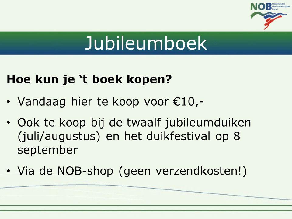 Jubileumboek Hoe kun je 't boek kopen? • Vandaag hier te koop voor €10,- • Ook te koop bij de twaalf jubileumduiken (juli/augustus) en het duikfestiva