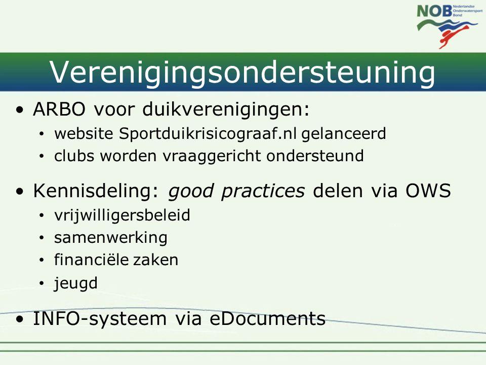 Verenigingsondersteuning •ARBO voor duikverenigingen: • website Sportduikrisicograaf.nl gelanceerd • clubs worden vraaggericht ondersteund •Kennisdeli