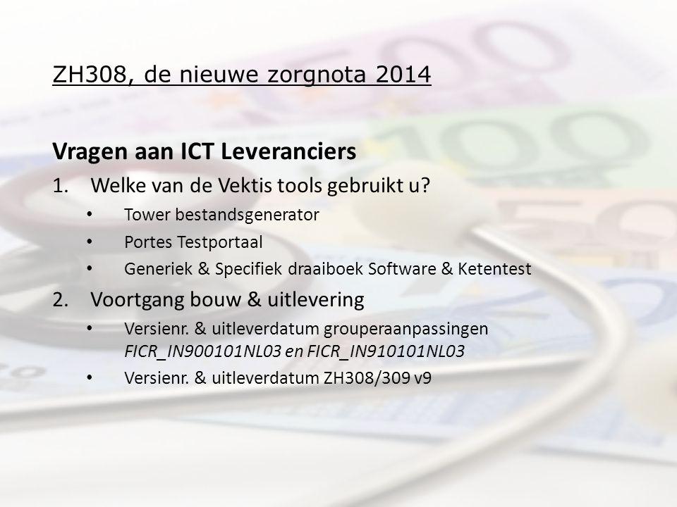 ZH308, de nieuwe zorgnota 2014 Vragen aan ICT Leveranciers 1.Welke van de Vektis tools gebruikt u? • Tower bestandsgenerator • Portes Testportaal • Ge