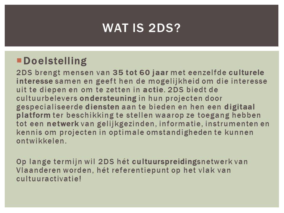  Doelstelling 2DS brengt mensen van 35 tot 60 jaar met eenzelfde culturele interesse samen en geeft hen de mogelijkheid om die interesse uit te diepen en om te zetten in actie.