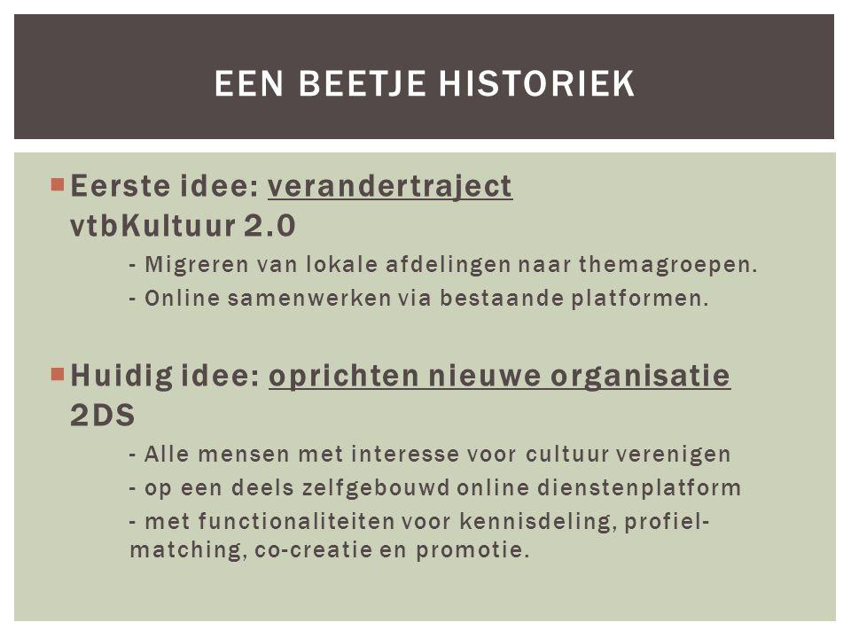  Eerste idee: verandertraject vtbKultuur 2.0 - Migreren van lokale afdelingen naar themagroepen. - Online samenwerken via bestaande platformen.  Hui
