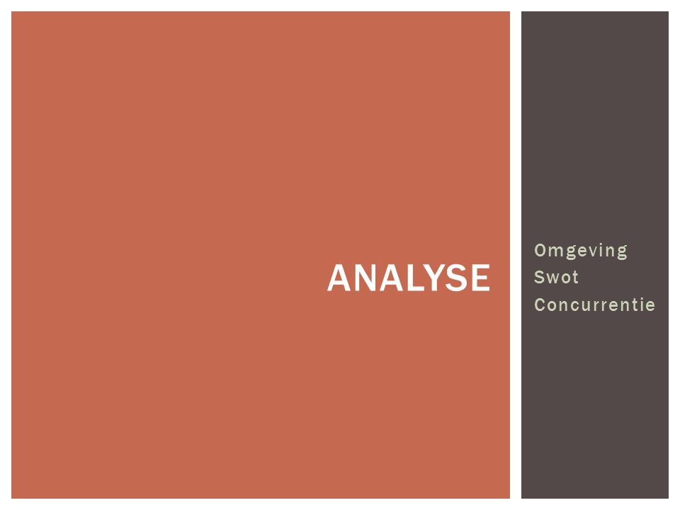 Omgeving Swot Concurrentie ANALYSE