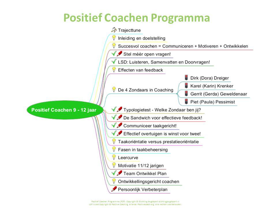 Positief Coachen Programma (PCP) Copyright © Stichting Jeugdsport stichtingjeugdsport.nl LIJF is oké Copyright © Positive Coaching Alliance.