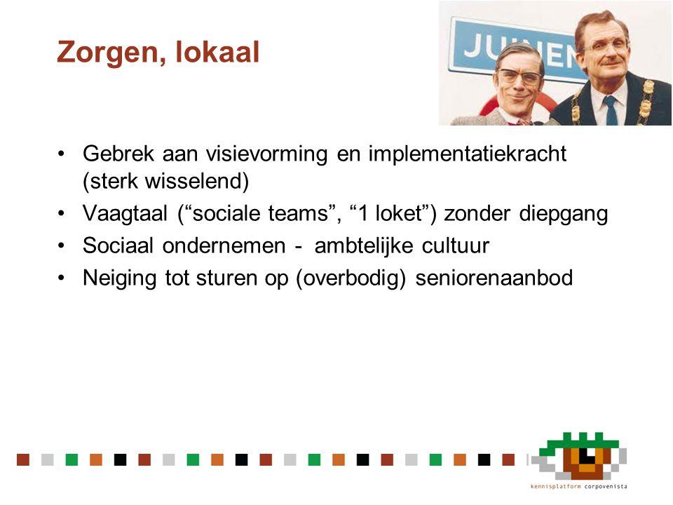"""Zorgen, lokaal •Gebrek aan visievorming en implementatiekracht (sterk wisselend) •Vaagtaal (""""sociale teams"""", """"1 loket"""") zonder diepgang •Sociaal onder"""