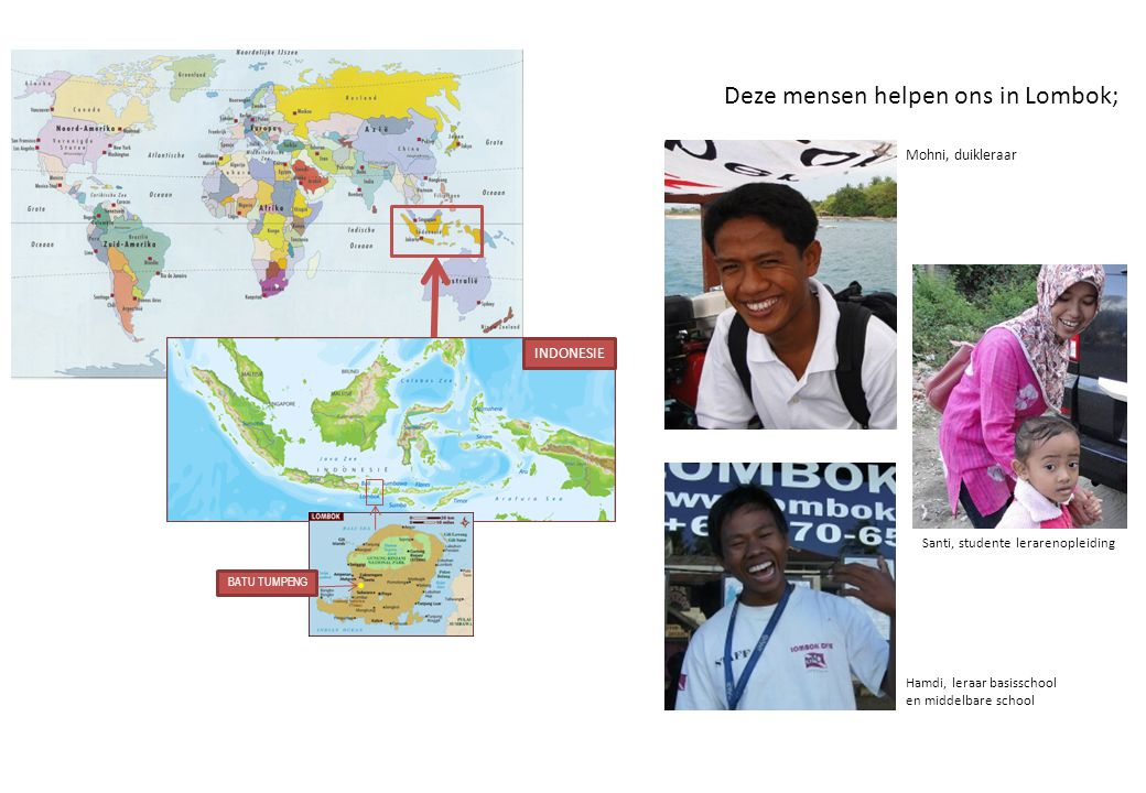 INDONESIE BATU TUMPENG Deze mensen helpen ons in Lombok; Mohni, duikleraar Santi, studente lerarenopleiding Hamdi, leraar basisschool en middelbare sc
