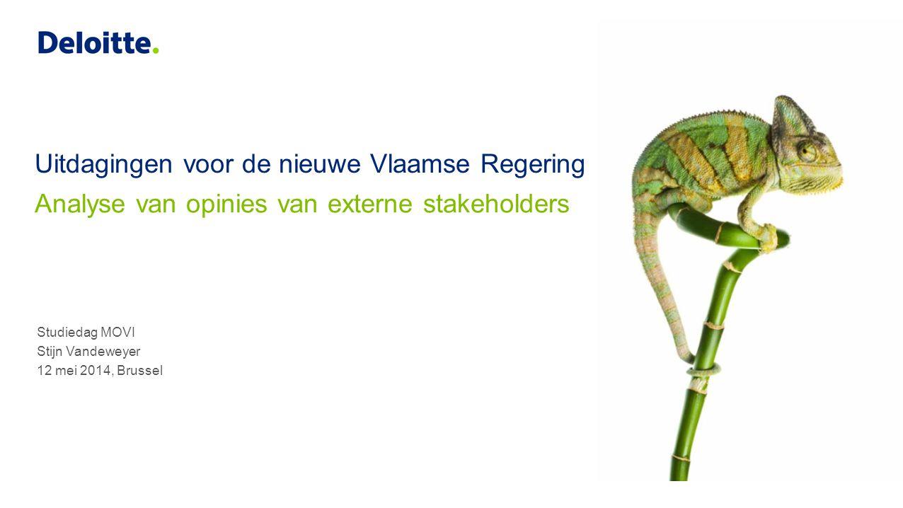 Staatshervorming Analyse van opinies van externe stakeholders 2© 2014 Deloitte Belgium DISCOURSANALYSE Analyse prioriteiten verkiezingsmemoranda 18 federaties burgers & ondernemers SOCIAL LISTENING Hoeveel keer wordt Vlaamse Overheid vernoemd.